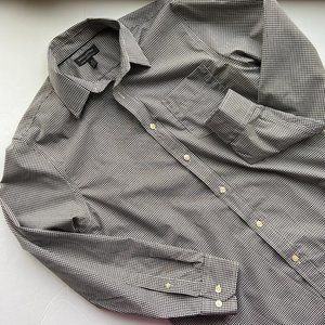 Banana Republic Black Check Slim Fit Dress Shirt M